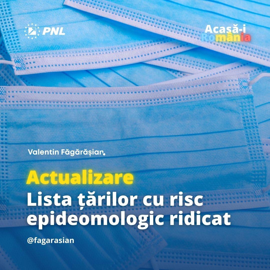 imainge cu textul actualizare lista tarilor cu risc epidoemologic ridicat